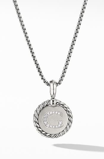 David Yurman Initial Charm Necklace with Diamonds
