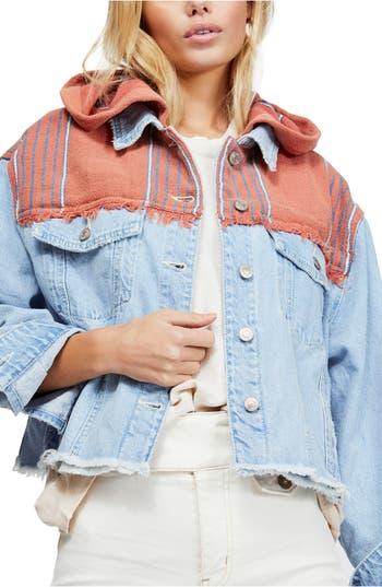 Free People Baja Hooded Denim Jacket