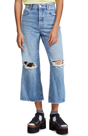 Free People Ranger Ripped Crop Wide Leg Jeans (Sky)