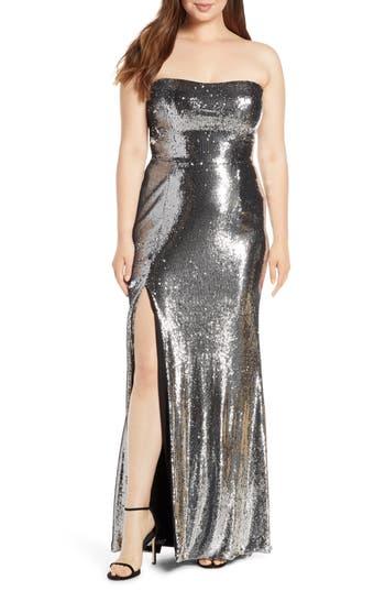 Dress the Population Ellen Strapless Sequin Evening Dress