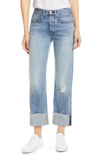 rag & bone Maya High Waist Ankle Straight Leg Jeans (Rowdy)