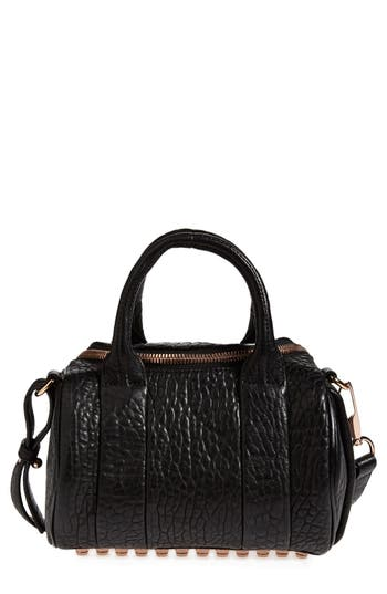 Alexander Wang 'Mini Rockie - Rose Gold' Leather Crossbody Satchel - Black at NORDSTROM.com