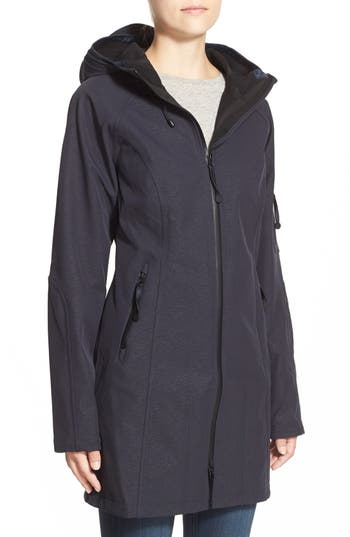Women's Ilse Jacobsen Regular Fit Hooded Raincoat, Size 42 - Blue