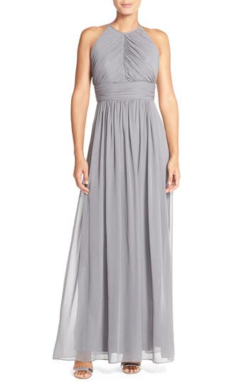 Dessy Collection Ruched Chiffon Open Back Halter Gown, Grey