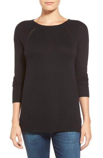 Caslon Button Back Tunic Sweater, Black