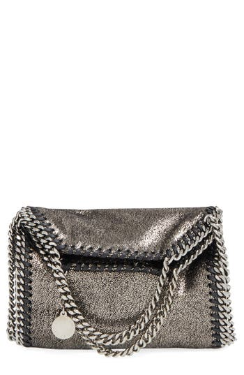 Stella Mccartney 'Tiny Falabella' Metallic Faux Leather Crossbody Bag - Grey