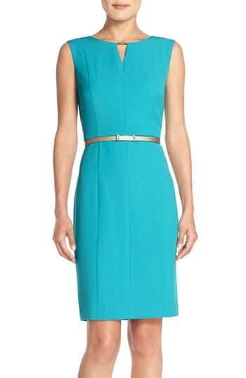 Ellen Tracy Belted Sheath Dress