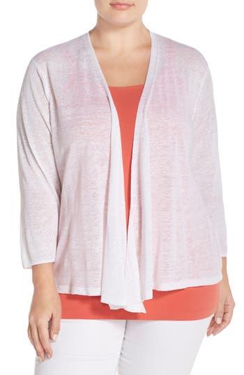 Plus Size Women's Nic+Zoe '4-Way' Three Quarter Sleeve Convertible Cardigan, Size 3X - White