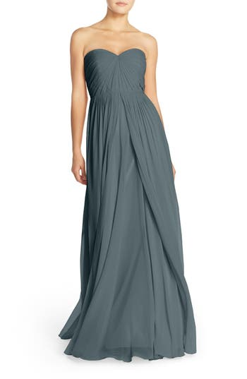 Jenny Yoo Mira Convertible Strapless Chiffon Gown, Blue