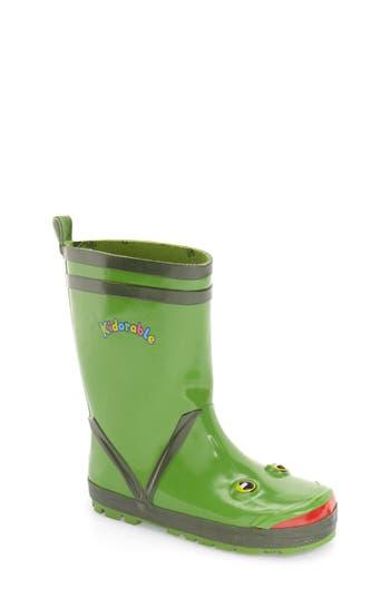 Boys Kidorable Frog Waterproof Rain Boot Size 2 M  Green