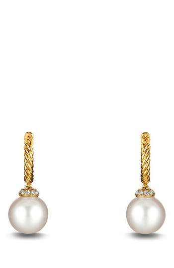 Women's David Yurman 'Solari' Hoop Earring With Diamonds And Pearls In 18K Gold
