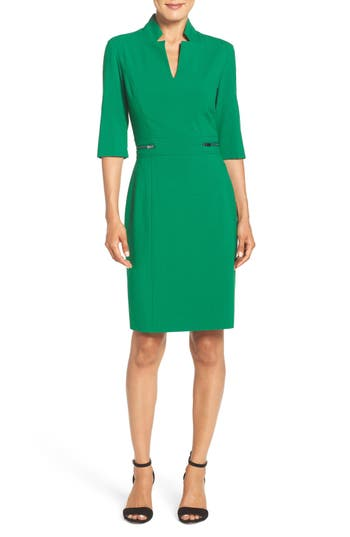 Tahari Bi-Stretch Sheath Dress, Green