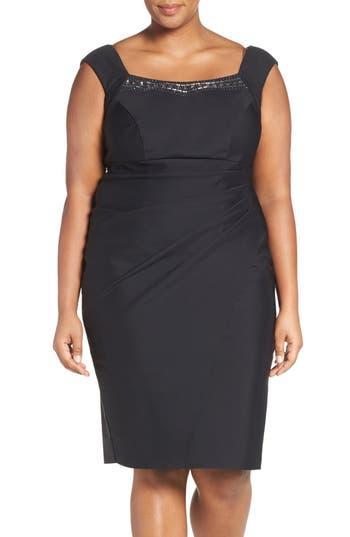 Plus Size Alex Evenings Embellished Square Neck Sleeveless Sheath Dress, Purple