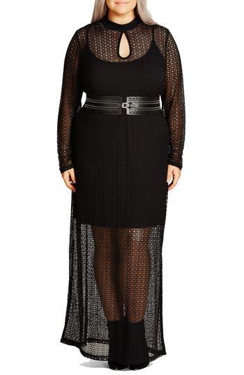 Plus Size City Chic Geo Lace Maxi Dress