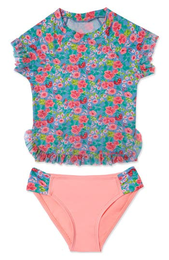 Girl's Hula Star 'Rose Tango' Two-Piece Rashguard Swimsuit