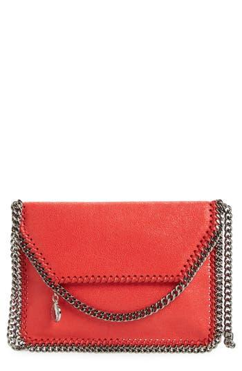 Stella Mccartney 'Mini Falabella - Shaggy Deer' Faux Leather Crossbody Bag - Red