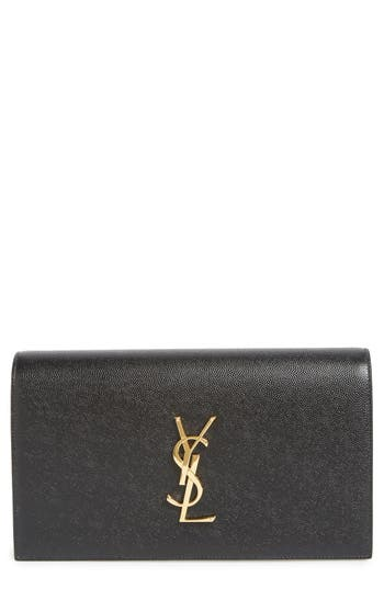 Saint Laurent 'Monogram' Leather Clutch - at NORDSTROM.com