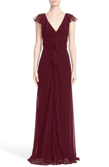 Women's Carolina Herrera Ruffle Detail Silk Chiffon V-Neck Gown
