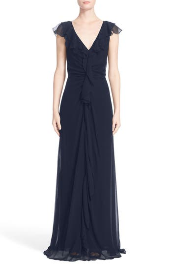 Carolina Herrera Ruffle Detail Silk Chiffon V-Neck Gown, Blue