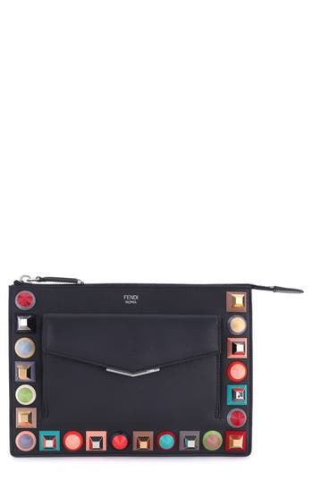 Fendi Mini Studded Leather Zip Pouch -
