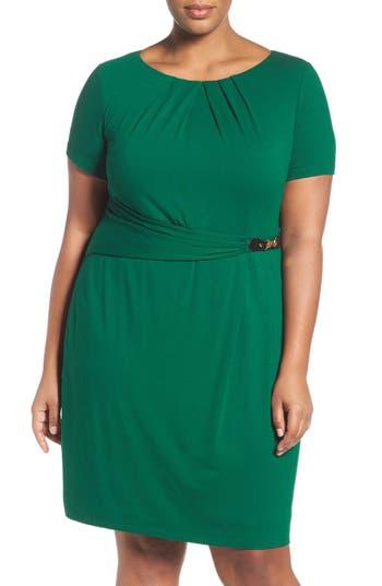 Plus Size Ellen Tracy Buckle Sheath Dress, Green