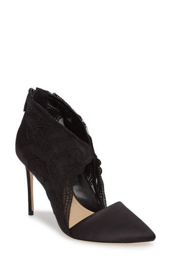 Imagine By Vince Camuto Obin Lace Detailed Pointy Toe Pump- Black