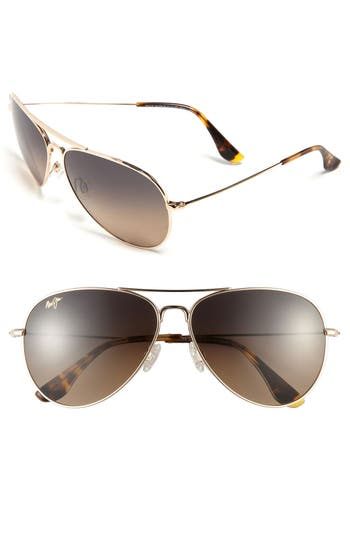 Maui Jim Mavericks 61Mm Polarizedplus2 Aviator Sunglasses - Gold/ Bronze