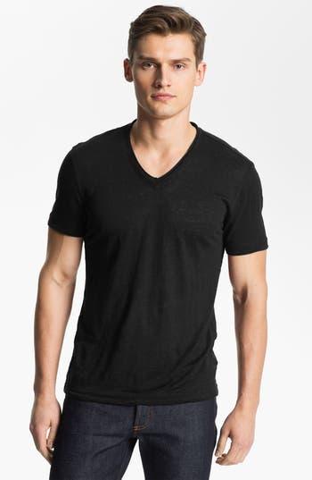 John Varvatos Collection V-Neck Linen T-Shirt, Black