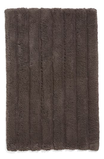 Nordstrom At Home Ribbed Velour Bath Rug, Size One Size - Grey
