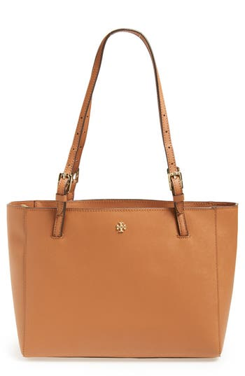 Tory Burch 'Small York' Saffiano Leather Buckle Tote - Brown