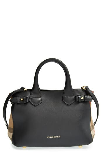 Burberry 'Small Banner' House Check Leather Tote -