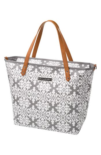 Infant Girl's Petunia Pickle Bottom 'Downtown' Glazed Canvas Tote - Grey