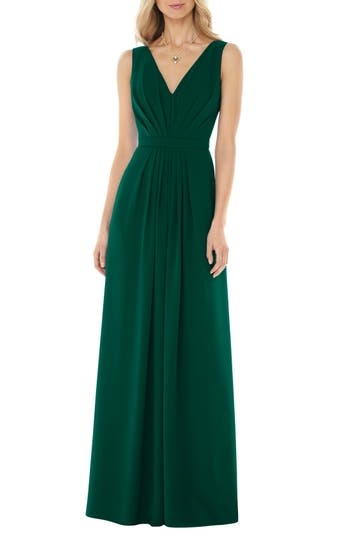 Social Bridesmaids V-Neck Georgette Gown, Green