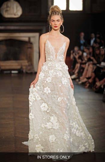 Berta V-Neck Applique A-Line Gown