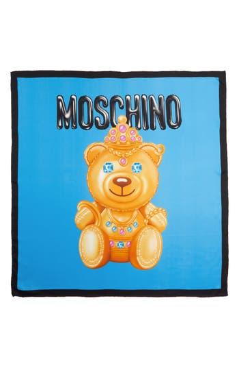 Women's Moschino Bear Print Silk Scarf, Size One Size - Blue