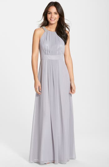 Eliza J Embellished Chiffon Gown, Metallic
