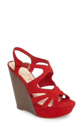 Women's Jessica Simpson Brissah Wedge, Size 6.5 M - Red