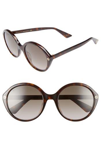 Women's Gucci 54Mm Round Sunglasses - Havana/ Brown