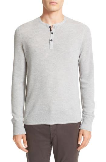 Rag & Bone Gregory Wool Blend Henley Sweater, Grey