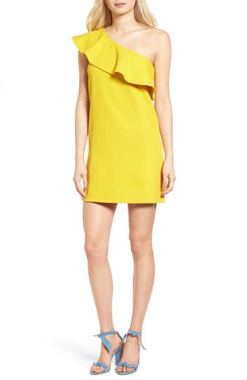 Cupcakes And Cashmere Ruffle One-Shoulder Dress, Yellow