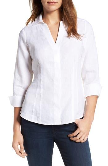 Foxcroft Linen Chambray Shirt, White