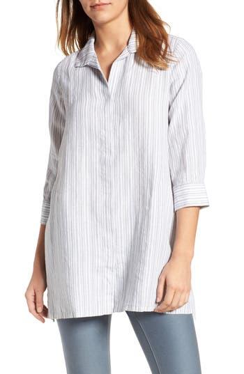 Foxcroft Stripe Linen Tunic, Grey