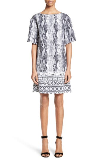 St. John Collection Raja Snakeskin Print Stretch Silk Dress