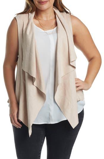 Plus Size Women's Tart Paz Faux Suede Drape Front Vest
