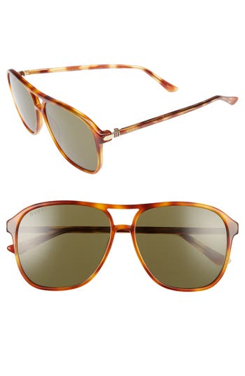 Men's Gucci Retro Web 58Mm Sunglasses - Havana W/ Green Lens