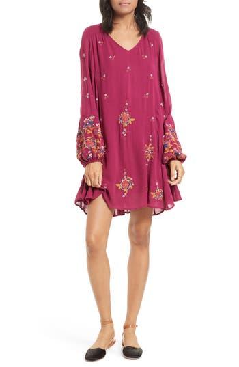 Free People Embroidered Minidress, Purple