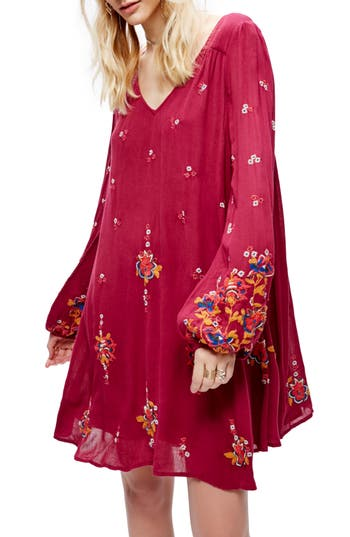 Free People Embroidered Minidress, Red