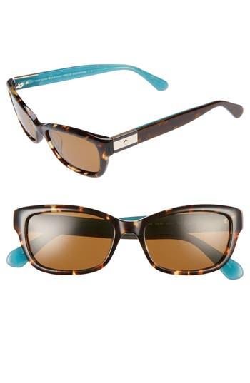 Women's Kate Spade New York Marilee 53Mm Polarized Sunglasses - Havana/ Turquoise