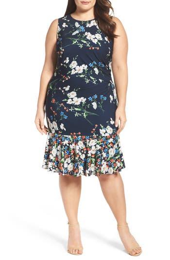 Plus Size Eliza J Mixed Floral A-Line Dress