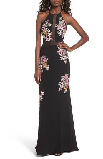 Women's Xscape Embellished Floral Halter Gown